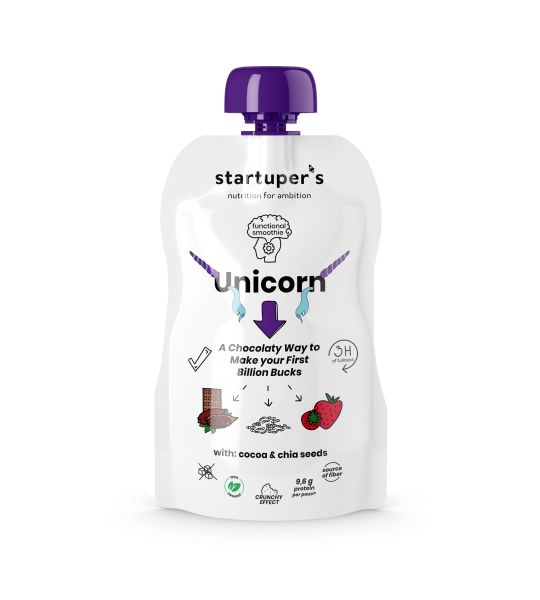 Startuper's Smoothies functional food Unicorn organic smoothie minimal design packaging pouches